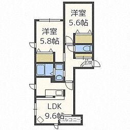北海道札幌市中央区南十三条西12丁目の賃貸マンションの間取り