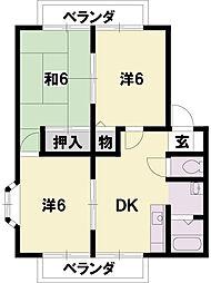 グリーンレイク堅田B[1階]の間取り