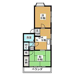 栃木県宇都宮市川俣町の賃貸アパートの間取り