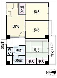 ダイアパレス神宮苑302号室[3階]の間取り