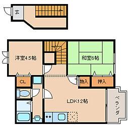 JR桜井線 長柄駅 徒歩12分の賃貸アパート 2階2LDKの間取り