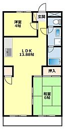 愛知県豊田市宮上町7丁目の賃貸アパートの間取り