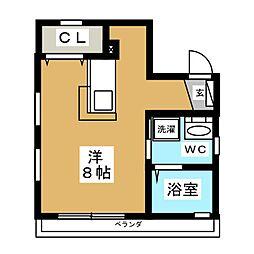 セレーノコート蒲田 3階ワンルームの間取り