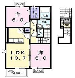 香川県高松市香西北町の賃貸アパートの間取り
