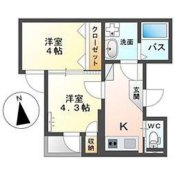広島電鉄5系統 比治山橋駅 徒歩7分の賃貸マンション 3階2Kの間取り