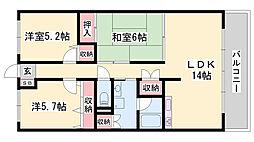 JR姫新線 余部駅 徒歩9分の賃貸マンション 3階3LDKの間取り