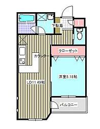 神奈川県海老名市国分南3丁目の賃貸マンションの間取り