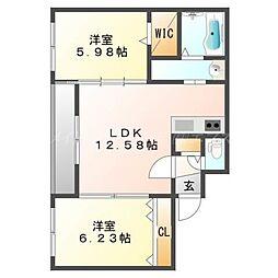 北海道札幌市東区北二十三条東6丁目の賃貸マンションの間取り
