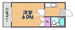 岡山県岡山市北区下伊福本町の賃貸マンションの間取り