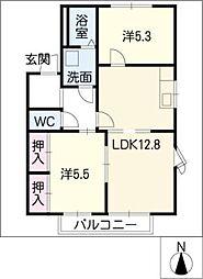 ボヌール平松A棟[2階]の間取り