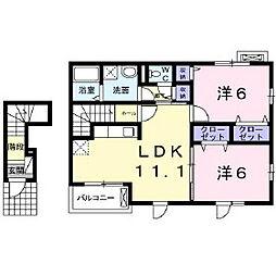 長野県長野市大字稲葉日詰の賃貸アパートの間取り