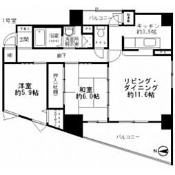 広島県広島市中区舟入中町の賃貸マンションの間取り