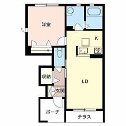 大阪府茨木市彩都やまぶき4丁目の賃貸アパートの間取り