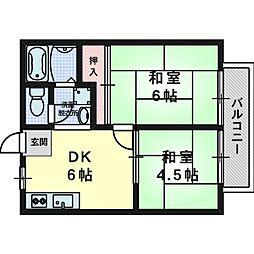 波多野ハイツ[1階]の間取り