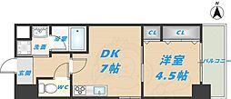 スタシオン俊徳道 9階1DKの間取り