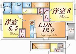 兵庫県神戸市須磨区東落合2丁目の賃貸アパートの間取り