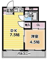 隆生ハイツ[3階]の間取り