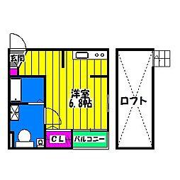 福岡県福岡市博多区麦野1丁目の賃貸アパートの間取り