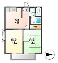 愛知県名古屋市中川区助光2丁目の賃貸アパートの間取り