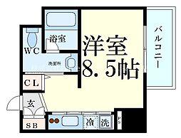 Innocent Doyama(イノセント堂山) 7階ワンルームの間取り