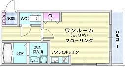 ザ・コンフォート連坊 1階ワンルームの間取り
