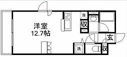 JR中央線 三鷹駅 徒歩15分の賃貸マンション 2階1Kの間取り