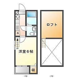 愛知県名古屋市中川区荒江町の賃貸アパートの間取り