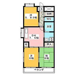 愛知県名古屋市北区上飯田北町1丁目の賃貸マンションの間取り
