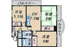 桃山台F1番館[301号室]の間取り