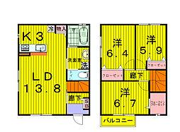 [テラスハウス] 千葉県柏市船戸 の賃貸【/】の間取り