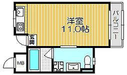 京阪本線 西三荘駅 徒歩18分の賃貸マンション 3階ワンルームの間取り