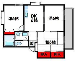 福岡県宗像市自由ヶ丘8丁目の賃貸アパートの間取り