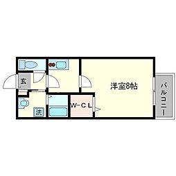 Amour吉田中大路[1階]の間取り