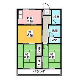 サンハイツ中平2[1階]の間取り