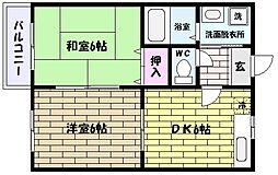 兵庫県神戸市東灘区御影1丁目の賃貸アパートの間取り