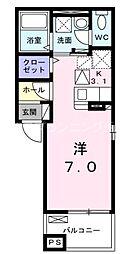 広島電鉄宮島線 修大協創中高前駅 徒歩4分の賃貸アパート 1階1Kの間取り