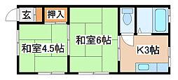 兵庫県神戸市須磨区潮見台町4丁目の賃貸アパートの間取り