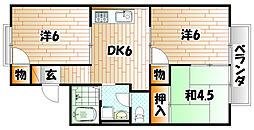 福岡県北九州市小倉南区若園2丁目の賃貸アパートの間取り