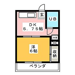 鶴見町パークハイツ[3階]の間取り