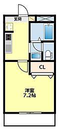 愛知県豊田市四郷町天道の賃貸アパートの間取り