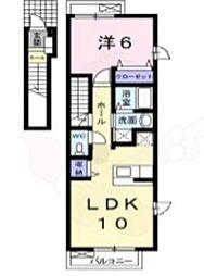 福岡市地下鉄七隈線 次郎丸駅 徒歩21分の賃貸アパート 2階1LDKの間取り