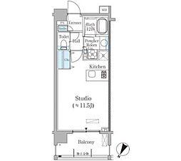 東京メトロ南北線 麻布十番駅 徒歩5分の賃貸マンション 3階ワンルームの間取り