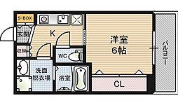 ウィンズコート西梅田[6階]の間取り