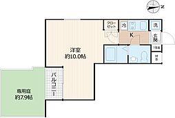 Beverly Homes 下赤塚 地下1階1Kの間取り