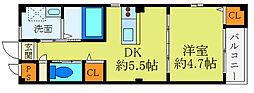阪急千里線 北千里駅 バス10分 小野原東5丁目下車 徒歩5分の賃貸マンション 2階1DKの間取り