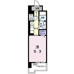JR徳島線 蔵本駅 徒歩14分の賃貸マンション 9階1Kの間取り