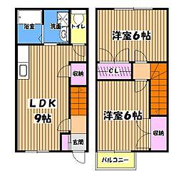 東京都立川市柴崎町1丁目の賃貸アパートの間取り