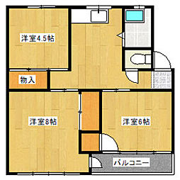 大森西住宅3号棟[3階]の間取り