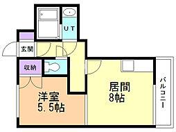 アビタシオンリビエール 6階1DKの間取り