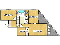 リヴェール中川[3階]の間取り